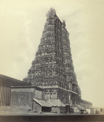 Madura. The Great Pagoda [Minakshi Sundareshvara Temple]. The pyramidal tower at east entrance